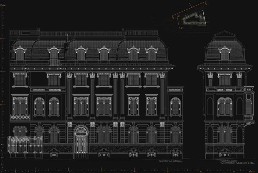 Illuminazione di facciata palazzo prato previde u novara u omnia
